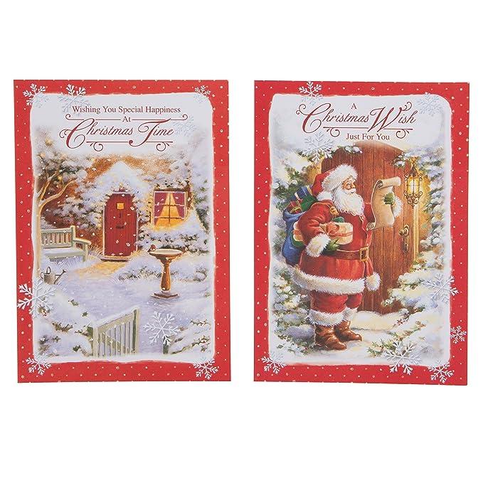 Biglietti Di Natale Gia Colorati.Hallmark Biglietti Di Natale Motivo Tradizionale 24 Pezzi 4