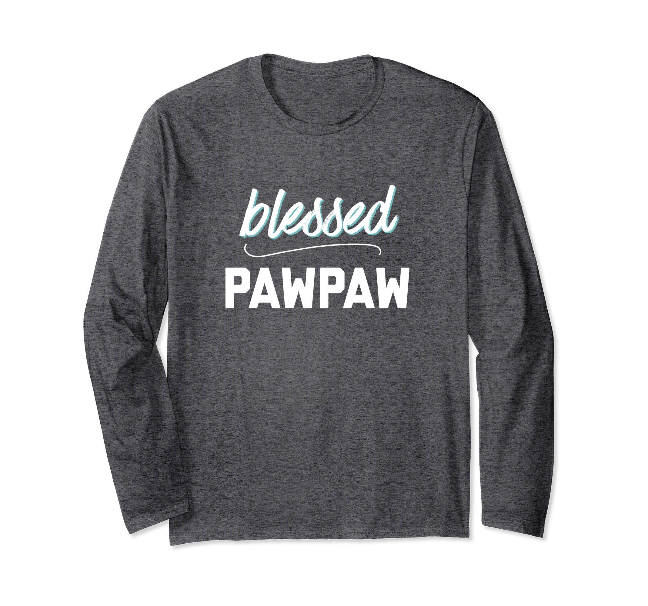 Unisex Blessed Pawpaw Christian Favorite Grandpa Longsleeve Tshirt Medium Dark Heather by Favorite People Clothing