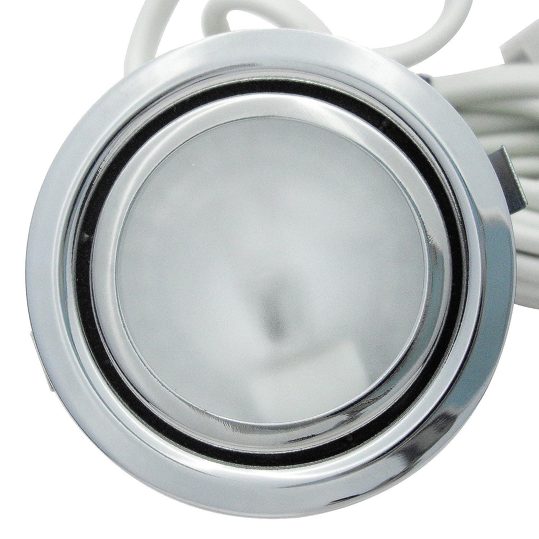 5 St/ück Kleine Halogen M/öbeleinbauleuchte Milan 12 Volt 10 Watt inkl Kabel mit AMP Stecker Farbe Edelstahl geb.