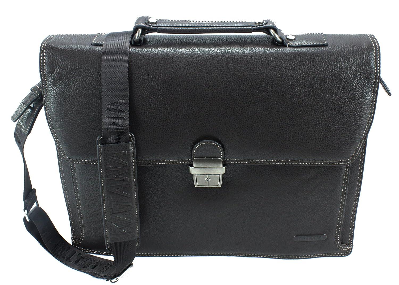 Frederic Johns - Ledertasche mit 3 Abteilen - Aktentasche aus Leder - Dokumententasche aus 3 Balgen - Herren Damen Businesstasche fü r 15, 6 Zoll Laptop - hochwertiges Leder (Dunkelbraun)