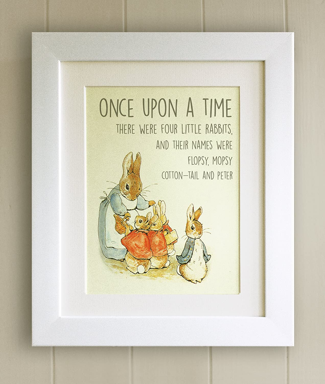 Nursery Picture Gift New Baby//Birth 10x8 Solid Oak Frame Peter Rabbit and Friends Baby Shower Beatrix Potter FRAMED QUOTE PRINT Christening