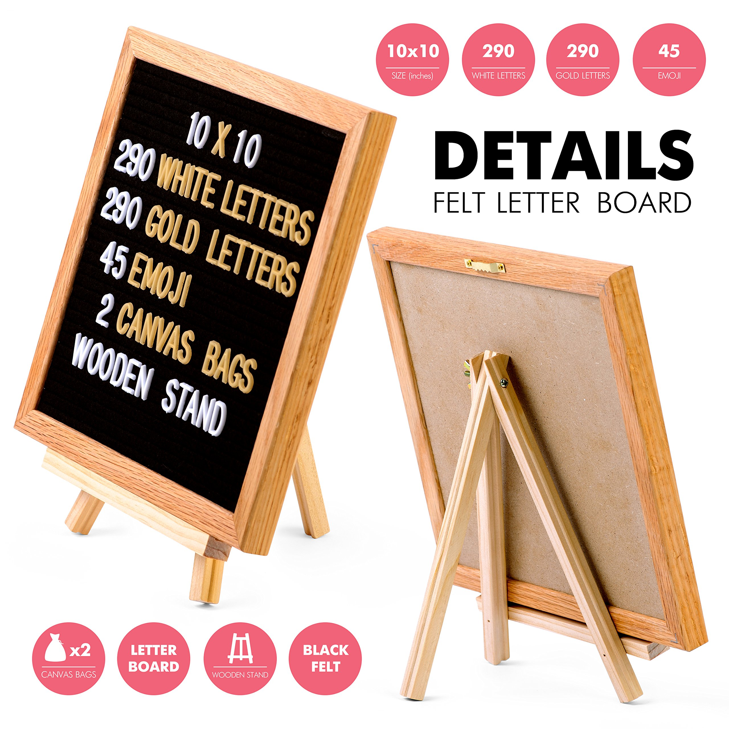 Letter Board - Felt Board for Changeable Messages. Oak Frame, 10x10, Black, 625 White and Gold Plastic Letters, Numbers and Emojis, 2 Storage Bags, Stand and Wall Mount for Home and Office Decoration