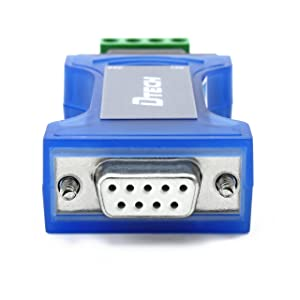 DTech RS232 to RS485 Converter Serial Communication Data Adapter with TX RX LED Indicators and Terminal Board (Color: Blue, Tamaño: Mini Size)
