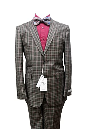 Men's L&S Modern Fit Brown and Burgundy Check Design Wool Suit (50R-44W)