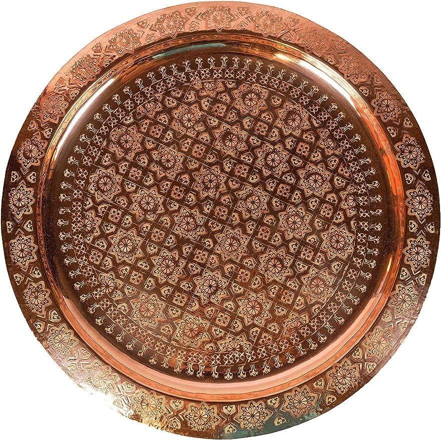 Orient Orientalisches Marokkanisches Vintage Tablett Serviertablett Kupferfarbig