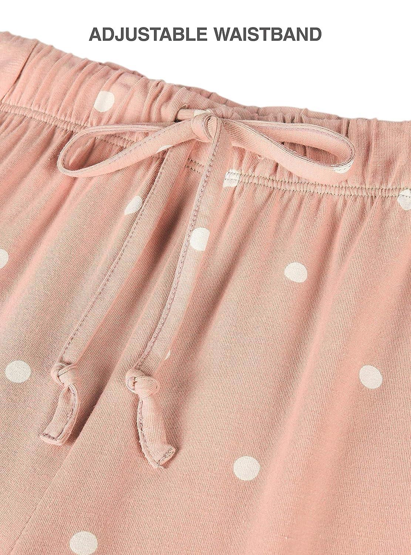 Abbigliamento Elegante da Casa Femminile in Cintura di Corda Righe Pallini Pacco da 2 Genuwin Pantaloni Pigiama da Donna Cotone Raffinato Super Soft Morbido Resistente e Comodo