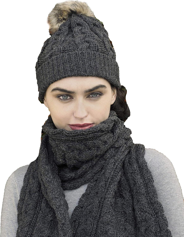 Charcoal Aran Crafts Merino Wool Knit Hat