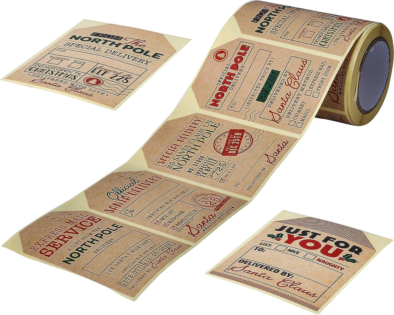 JOYIN 120 Pcs Kraft Paper Sticker Roll Tags for Xmas Gift Wrapping Sticker Labels