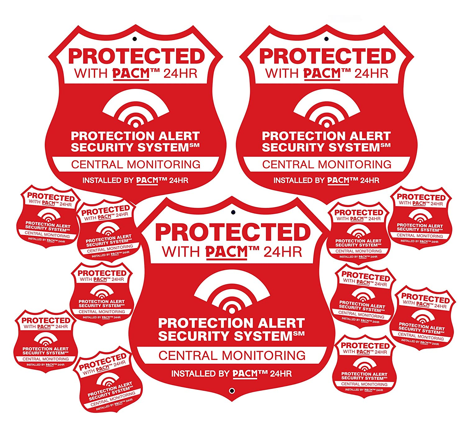 3 Pro Alarm Home Security Signs & 10 Alarm System Stickers