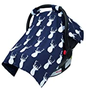 JLIKA Baby Car Seat Canopy Cover - Infant Canopy Cover for newborns infants babies girls boys best shower gift for carseats (Navy Deer)