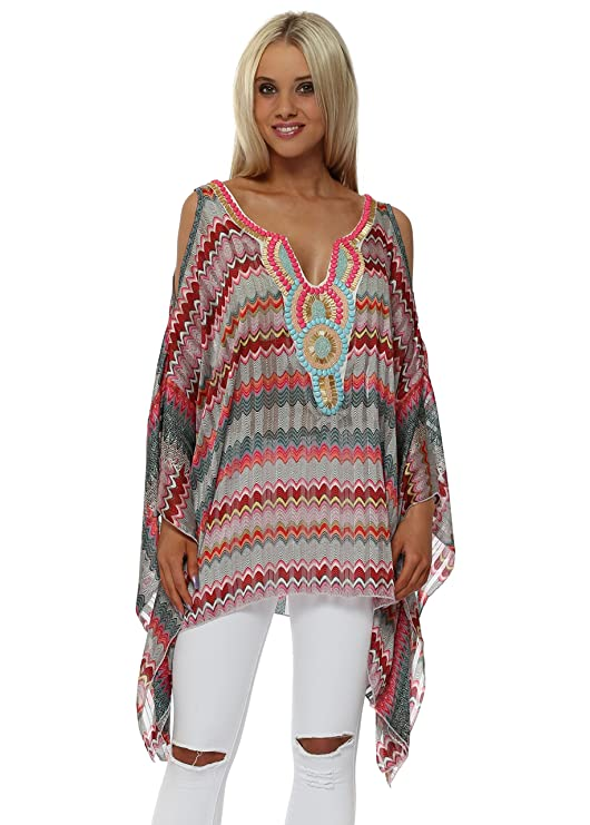 12ac5493a50 Troiska Pink Zig Zag Embellished Cold Shoulder Kaftan Top One Size Pink:  Amazon.co.uk: Clothing
