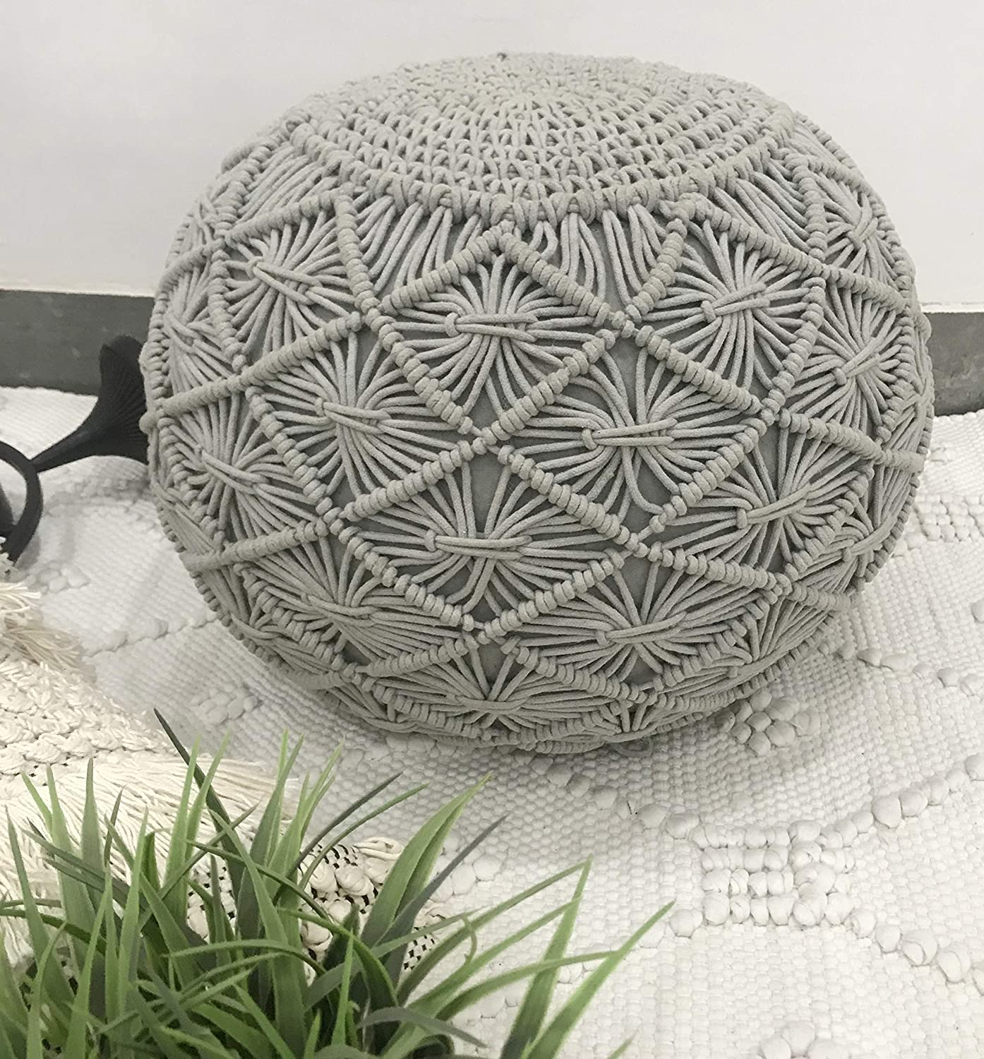 The Knitted Co. Cotton Pouf Handmade Macrame Ottoman - Farmhouse Rustic Accent Furniture - Footrest Round Bean Bag - for Living Room Bedroom Kids Room (Light Grey, 18