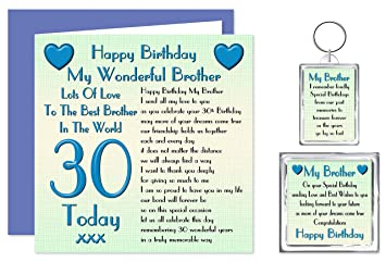 Brother 30th happy birthday gift set card keyring fridge magnet brother 30th happy birthday gift set card keyring fridge magnet present lots bookmarktalkfo Images