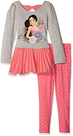 Disney Little Girls 2 Piece Elena of Avalor Chiffon Tunic and Legging Set, Grey