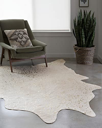 Loloi II Bryce Collection Faux Cowhide Area Rug, 6 2 x 8 , Ivory Champagne