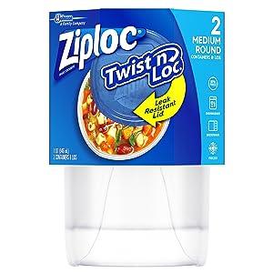 Ziploc Twist 'n Loc, Storage Containers for Food, Travel and Organization, Dishwasher Safe, Medium Round, 2 Count