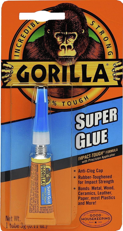 Gorilla Super Glue Tube, 3 Gram, Clear, (Pack of 1)