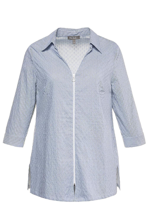 53f9732d35a Ulla Popken Women s Plus Size Textured Stripe Zip Blouse 715145 at Amazon  Women s Clothing store