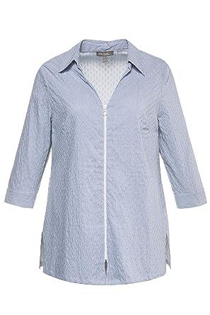 2d15cabb4c5 Ulla Popken Women s Plus Size Textured Stripe Zip Blouse Forget Me Not  Stripe 12 14