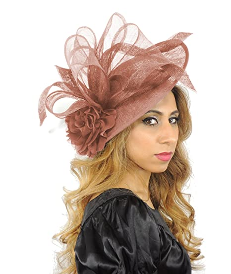 fb2b23e607395 Large 12 Inch Saratoga Sinamay Ascot Fascinator Hat - With Headband -  Available in 25 colours  Amazon.co.uk  Clothing