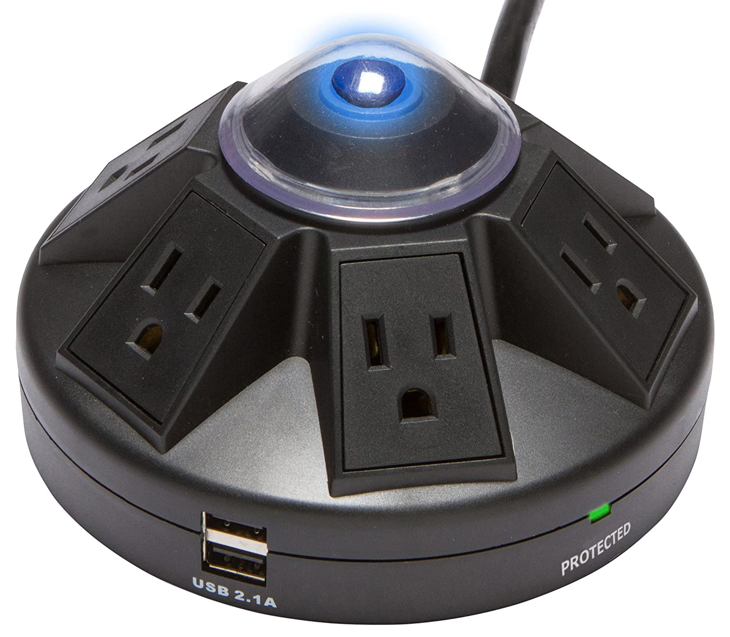 4-Foot Cord UL Listed Accell Corporation D080B-013K 1080 Joules Black Accell Powramid 6-Outlet Surge Protector