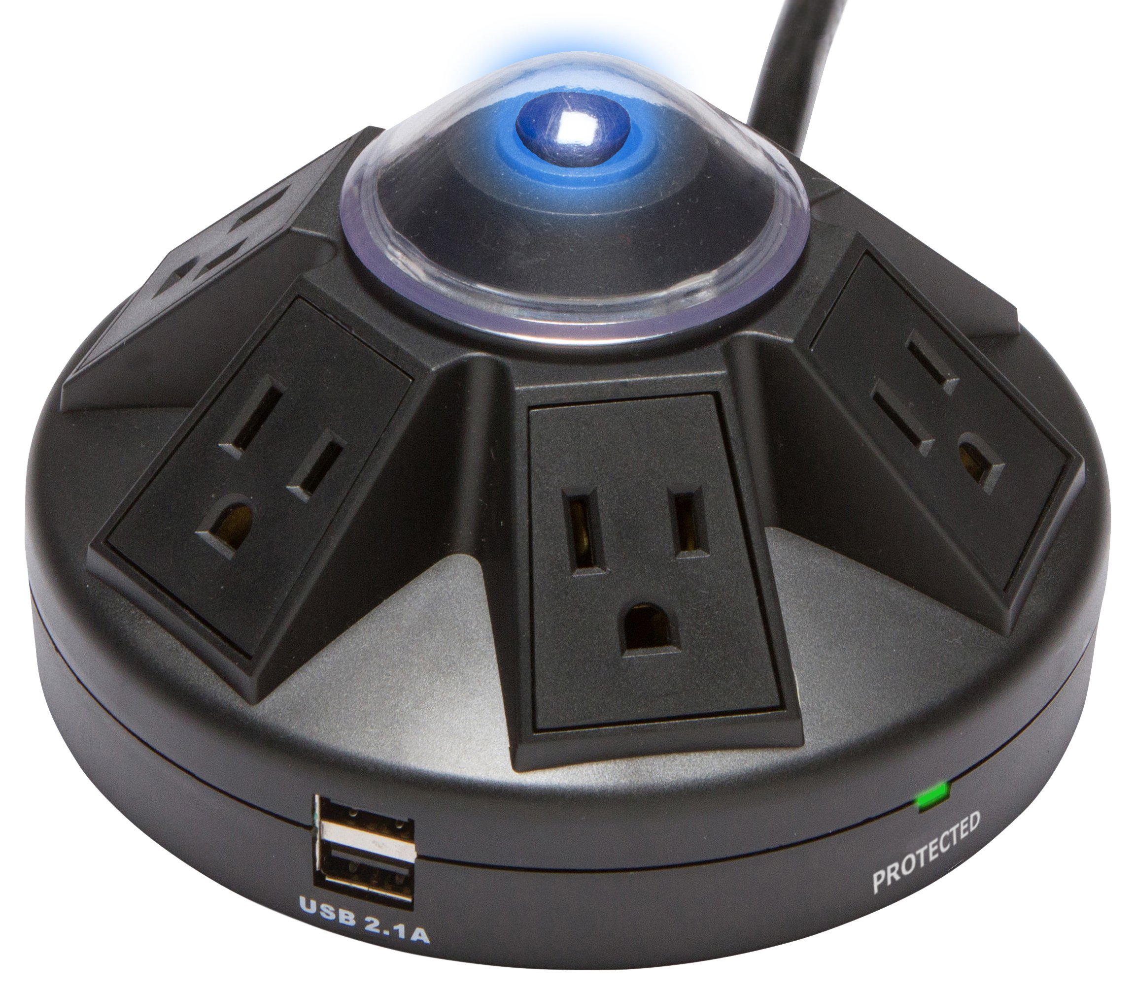 Accell Powramid 6-Outlet Surge Protector with 2x USB Charging Ports - Black - 6-Foot Cord, 1080 Joules, 2.1A USB Output, UL Listed by Accell