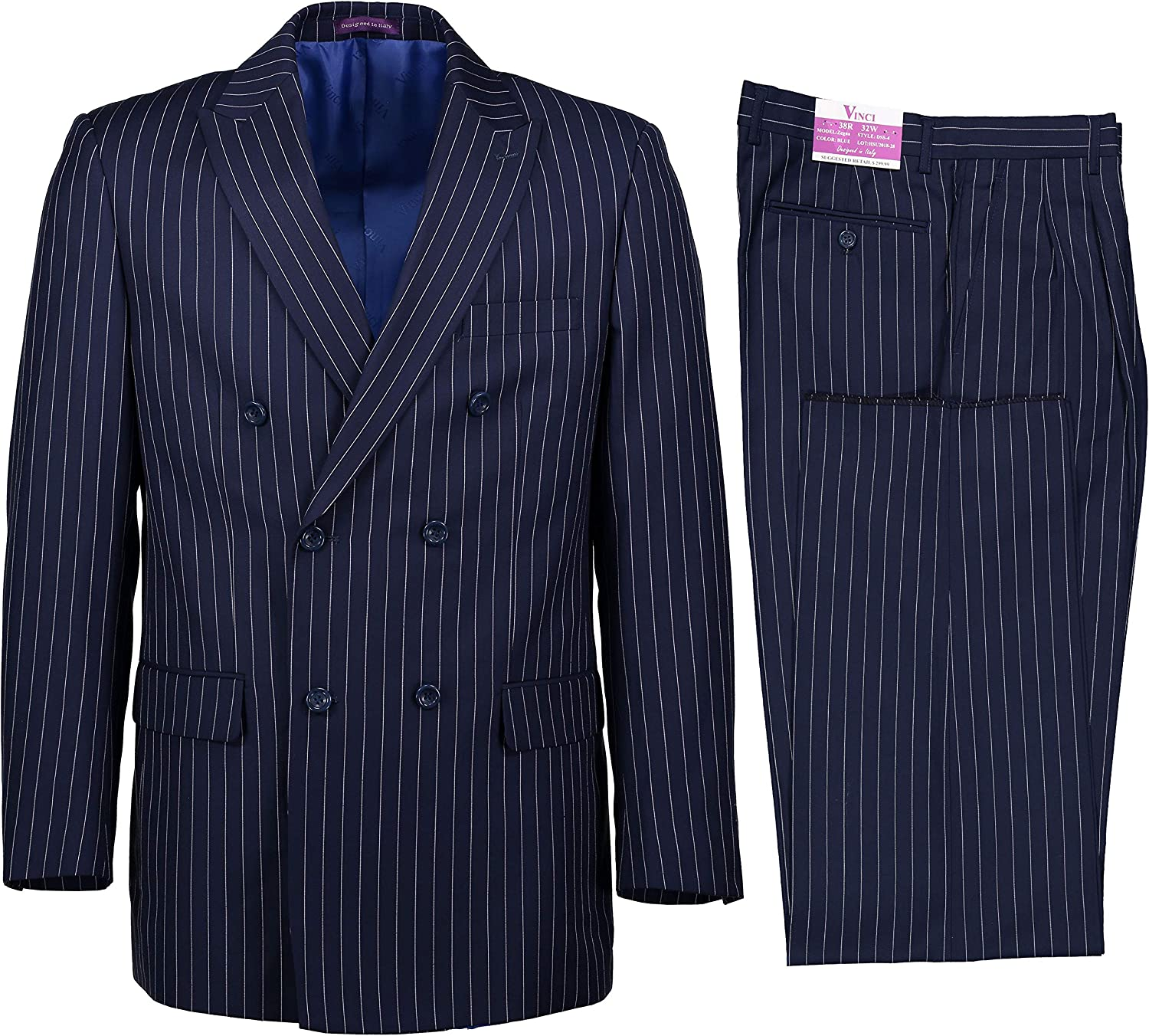 1920s Men's Clothing VINCI Mens Gangster Pinstriped Double Breasted 6 Button Classic Fit Suit New $89.00 AT vintagedancer.com