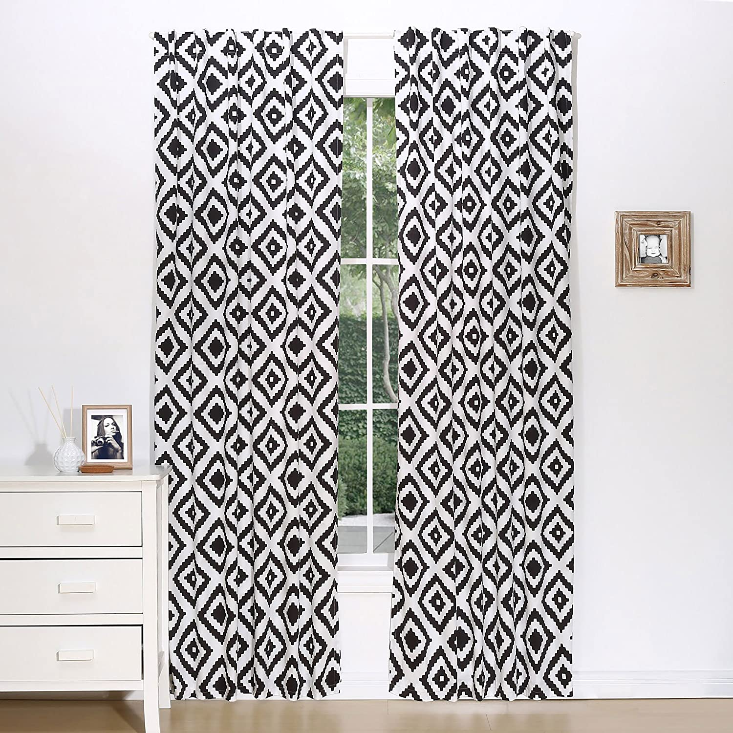 Black Diamond Tile Print Window Drapery Panels - Set of Two 84 by 42 Inch Panels Farallon Brands WP2DIBK