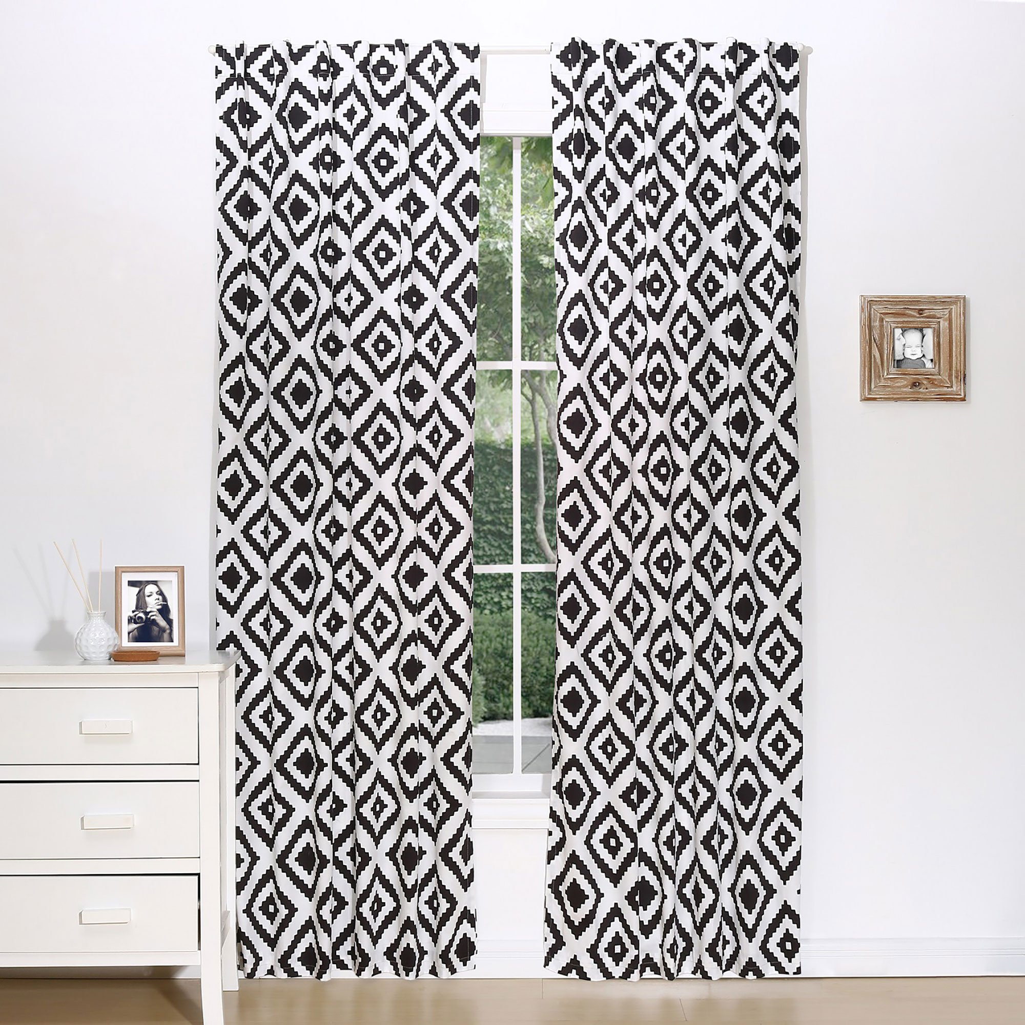 Black Diamond Tile Print Window Drapery Panels - Set of Two 84 by 42 Inch Panels