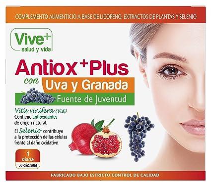 Vive+ Antioxplus Uva y Granada - 3 Paquetes de 30 Cápsulas