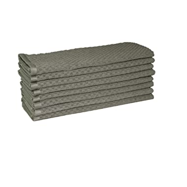 Cotton Craft - 8 Pack - Euro Cafe Waffle Weave Terry Kitchen Towels - 16x28 Inches - Charcoal - 400 GSM quality - 100% Ringspun 2 Ply Cotton - Highly Absorbent Low Lint - Multi Purpose