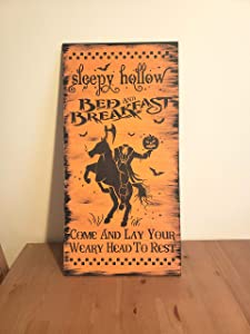 Tamengi Sleepy Hollow Bed and Breakfast Sign Wood Halloween Sign Wooden Home Decor Gothic Decor Headless Horseman Orange Black Gift Primitive 12