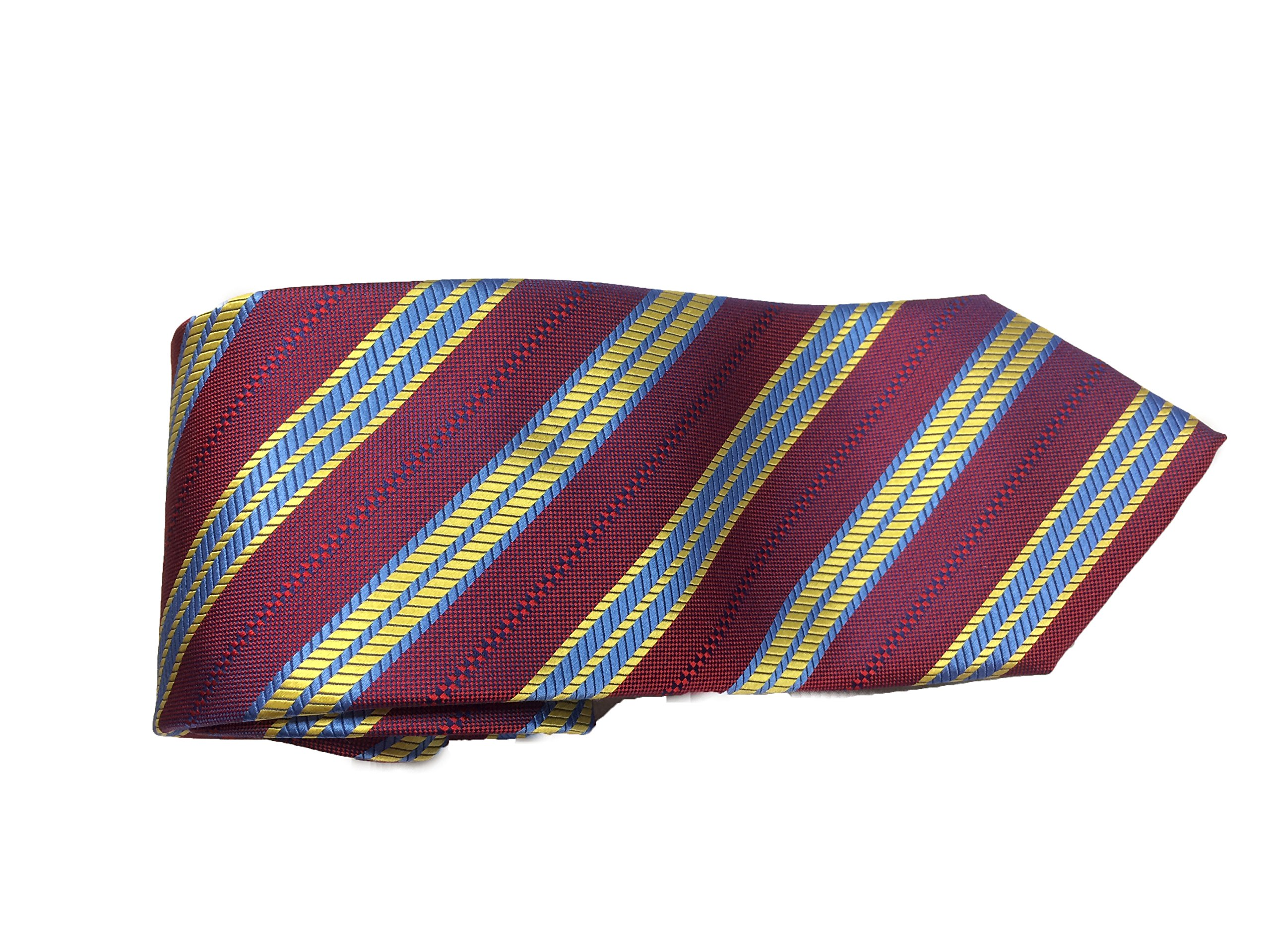 Robert Talbott Burgundy with Yellow and Blue Stripes Welch Margetson Best of Class Extra Long Tie