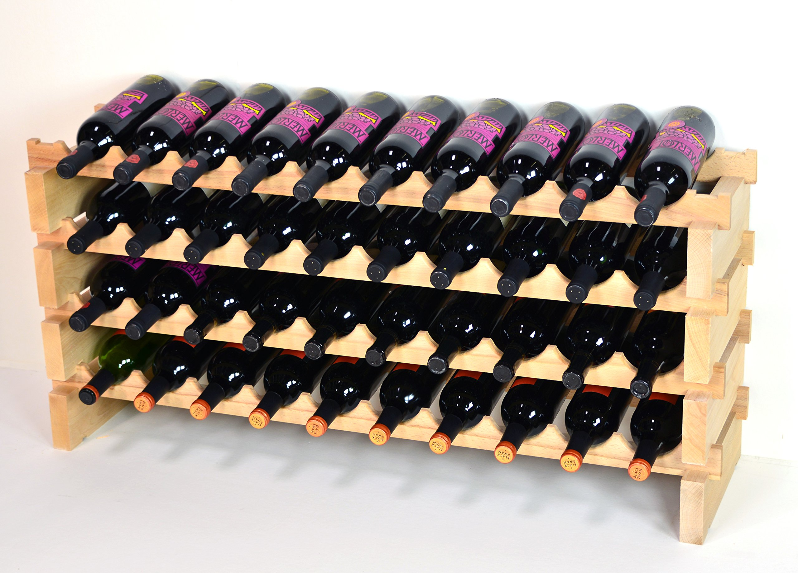 Modular Wine Rack Beechwood 40-120 Bottle Capacity 10 Bottles Across up to 12 Rows Newest Improved Model (40 Bottles - 4 Rows)