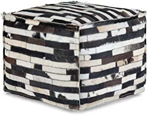 SIMPLIHOME Dempsey Square Pouf, Footstool, Upholstered in Multi Black Leather, for the Living Room, Bedroom and Kids Room, Transitional, Modern