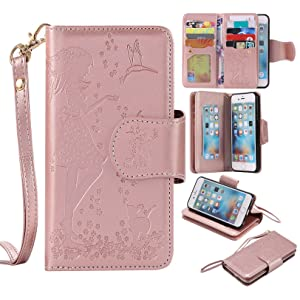 BONROY¨ Magnetic Flip Cover for iPhone 6 6S (4,7 Zoll),Woman and cat theme series Embossing Wallet Case with Hand Strap for iPhone 6 6S (4,7 Zoll), Premium PU Leather Folio Style Retro PU Leather Wallet Flip with Card Slots and and Stand Function Case Cover for iPhone 6 6S (4,7 Zoll)