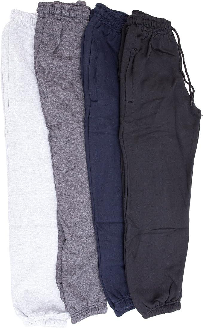 Pantalones de chándal lisos con puños unisex para niños (5-6 años ...