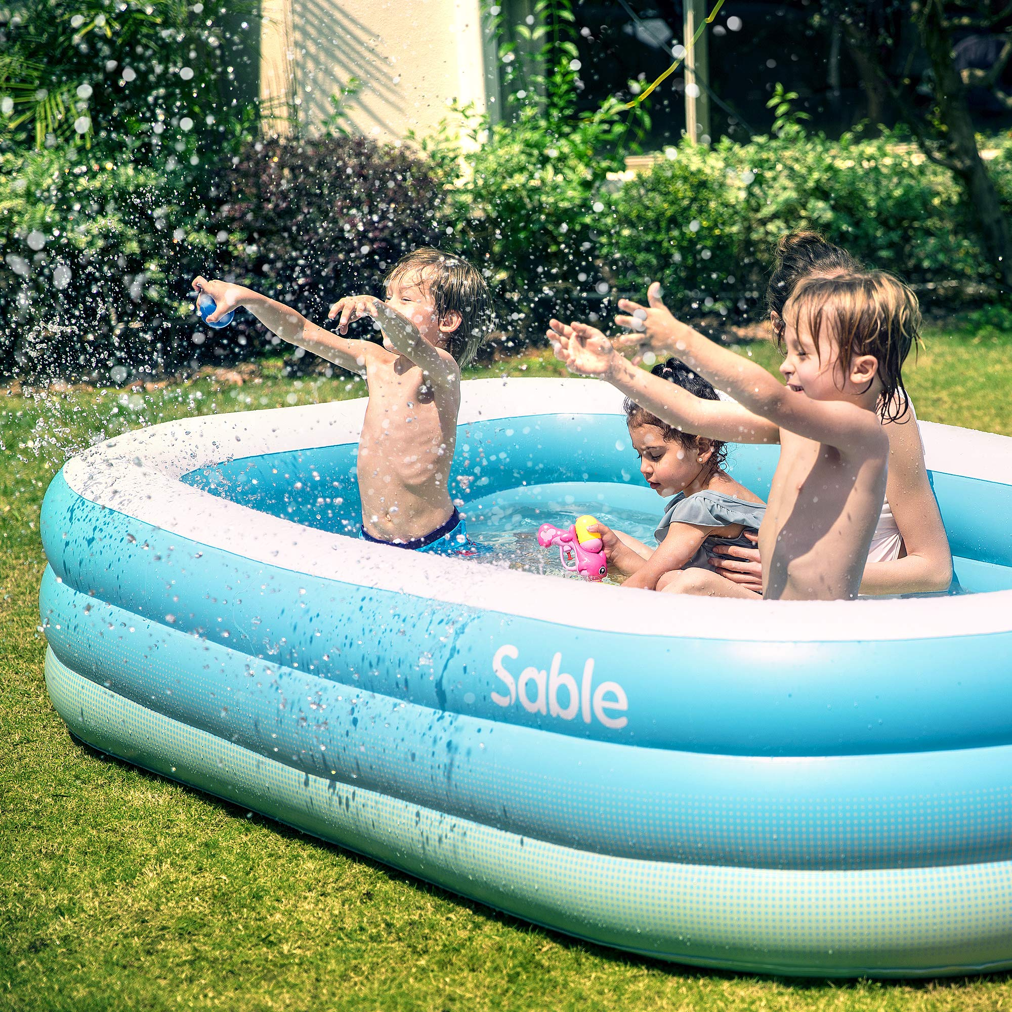 Sable Inflatable Pool, Family Swim Center Pool for Kids, Adults, Backyard, Outdoor, 92'' X 56'' X 20'', for Ages 3+ by Sable (Image #2)