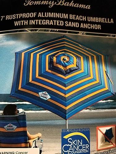 Tommy Bahama 2020 Sand Anchor 7 Feet Beach Umbrella with Tilt and Telescoping Pole Orange Blue Stripes