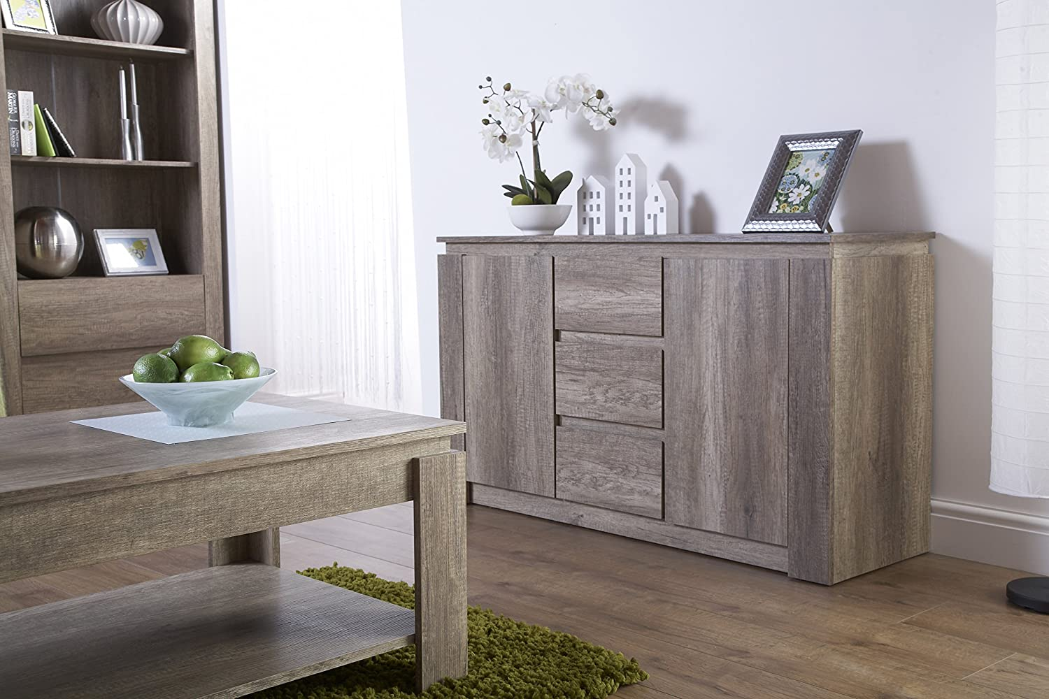 Right Deals UK Canyon 2 Door 3 Drawer Sideboard - Unique 3D Design Oak Finish GFW - The Furniture Warehouse