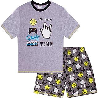 The PyjamaFactory Game Over Space Invaders Gaming Pigiama Corto in Cotone Nero