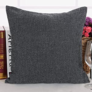 Deconovo Throw Cushion Cover Faux Linen Home Decorative Hand Made Pillow Case Cushion Cover for Travel Use 18x18 inch Dark Grey