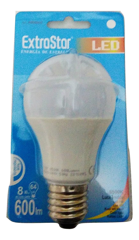 BOMBILLA LED 8W EXTRASTAR 180° REF: A60DIMD 6500 K LUZ BLANCA FRÍA ACOPLAMIENTO Y 27: Amazon.es: Iluminación