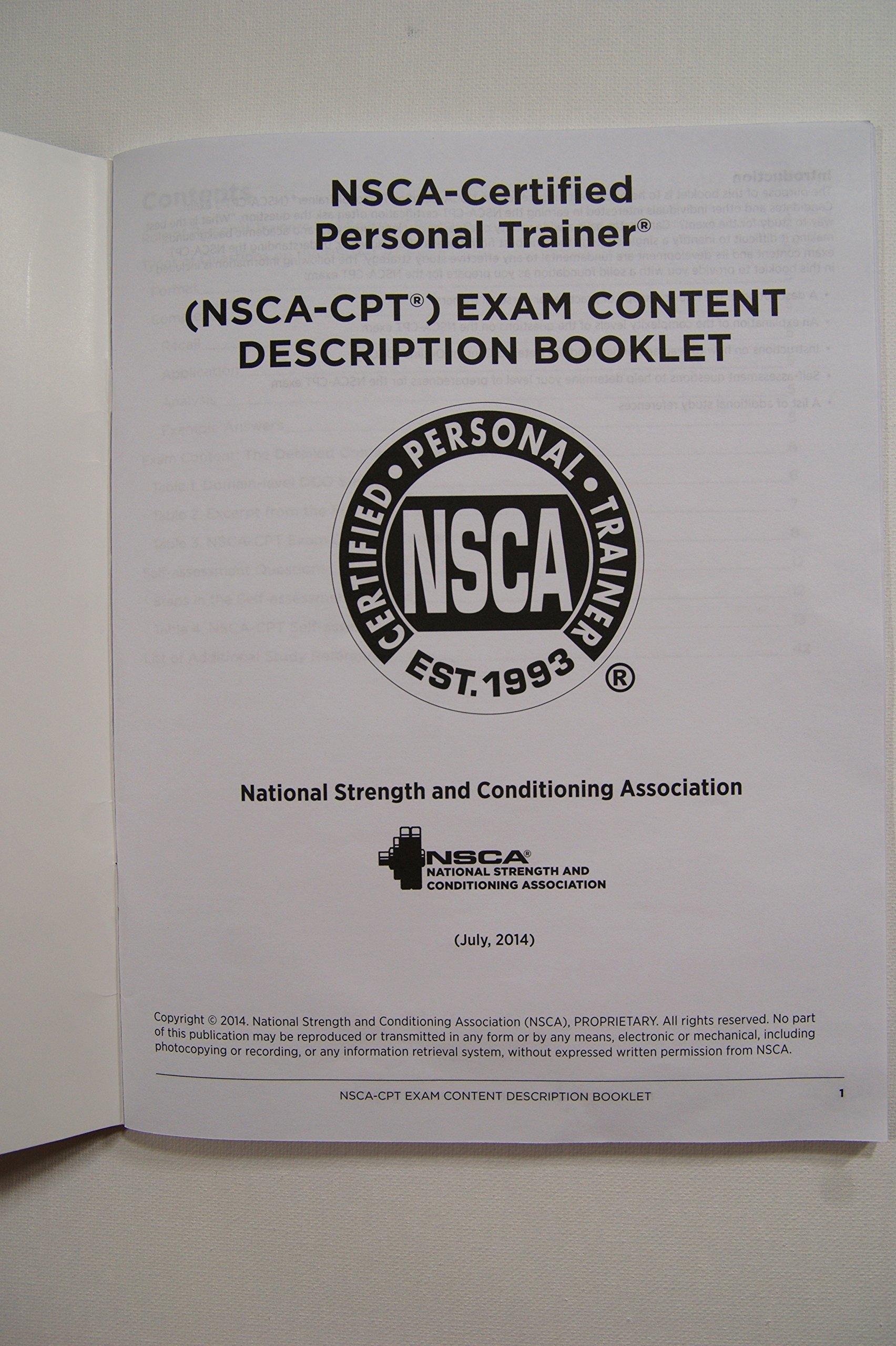 Nsca Cpt Exam Content Description Amazon Nsca Certification