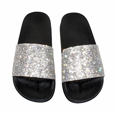 fa8593bec7268b Womens Ladies Slip On Sparkly Diamante Bling Sliders Summer Sandals Size UK  3-8 (