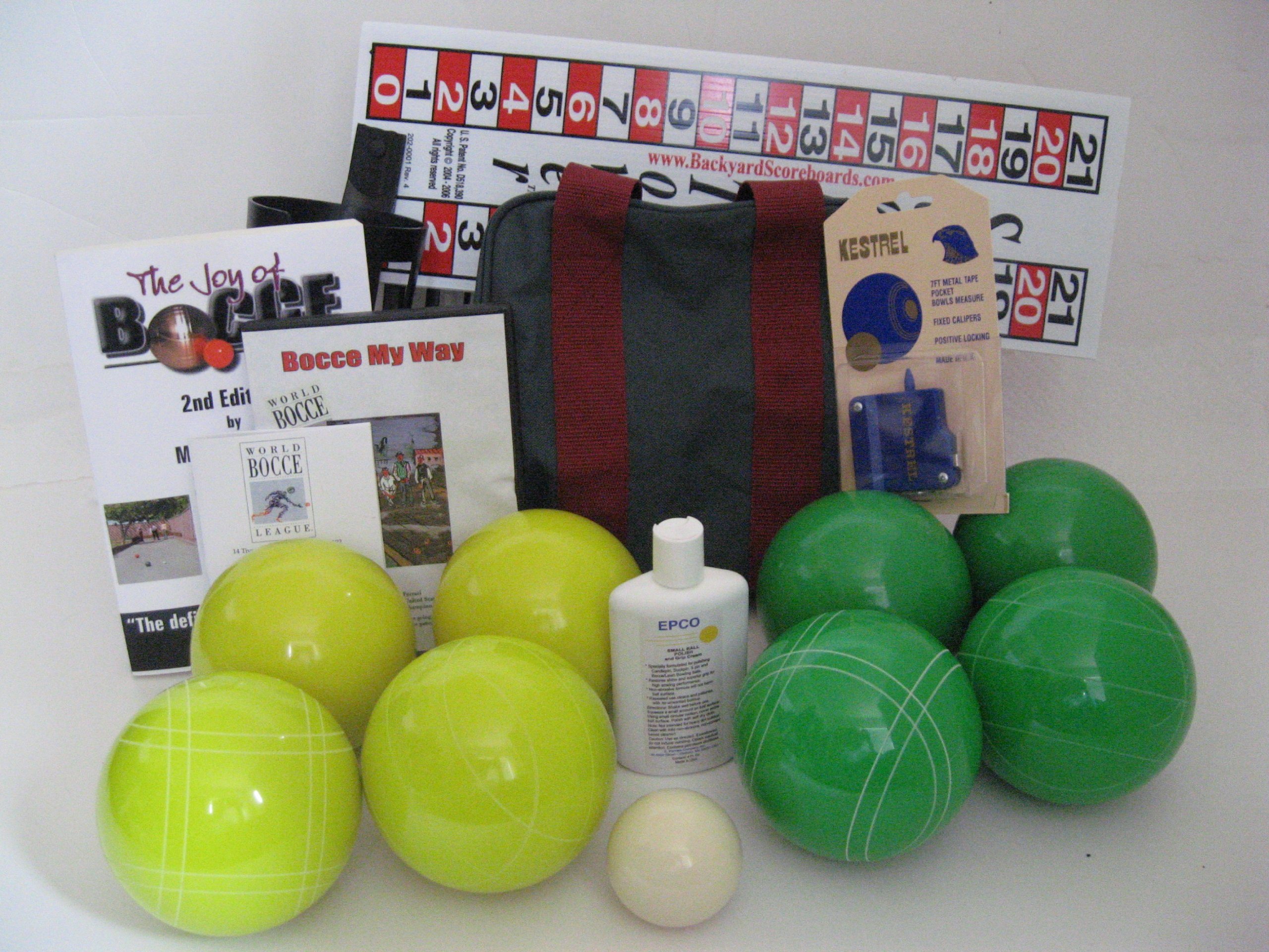 Everything Bocce Package - 110mm Epco Yellow and Green Balls, Score Tower, Hi...
