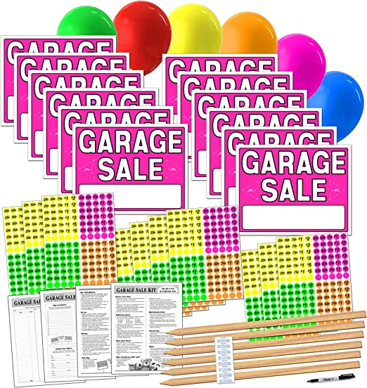 3648 PCs Garage Sale Flea Market Pre-Priced Pricing Stickers in Bright Colors in
