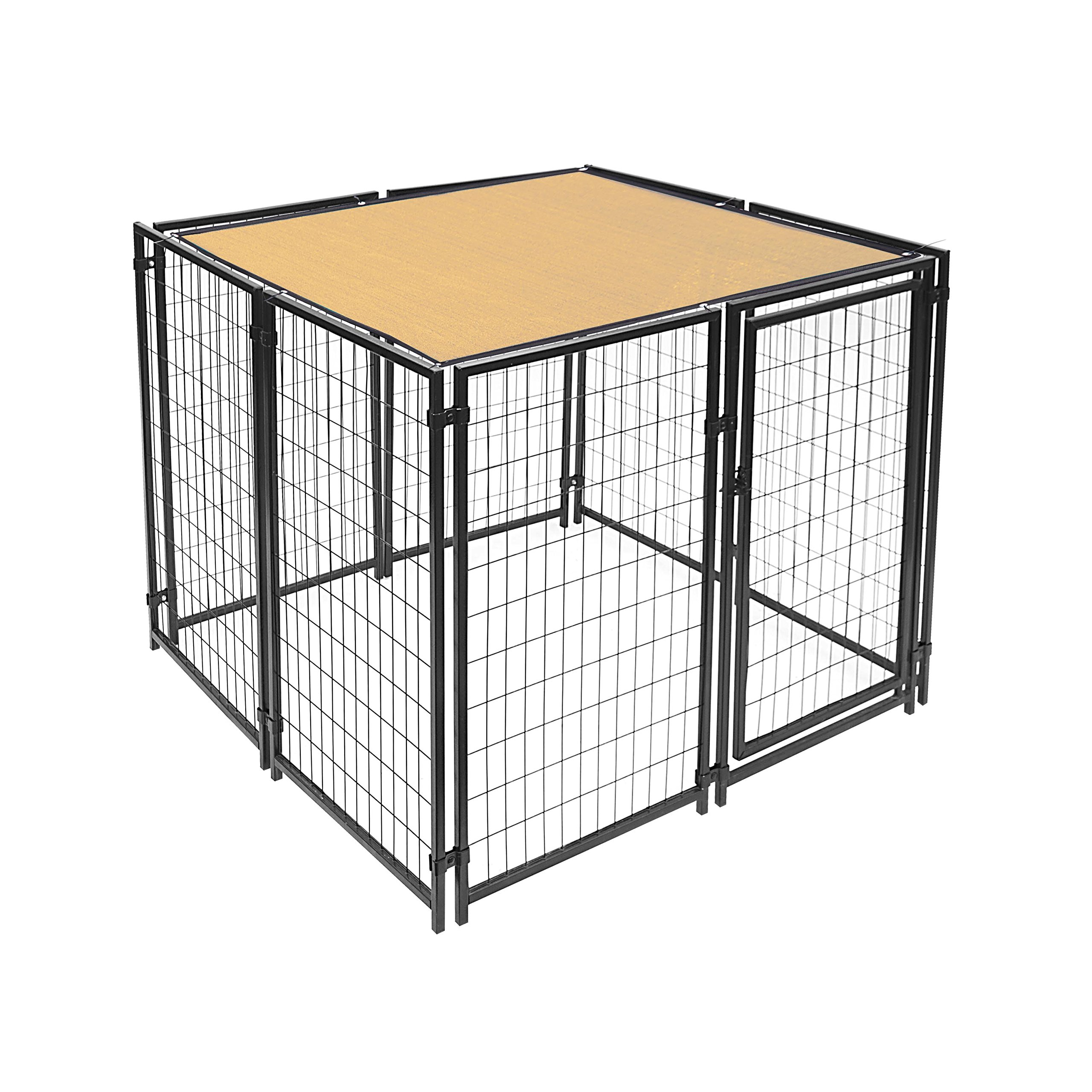 ALEKO PLK0505BE Feet Pet Dog Kennel Sun Shade Cover Weather Protection with Aluminum Grommets 5 x 5 Feet Beige