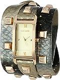 Vince Camuto Women's VC/5142CHGD Swarovski Crystal Gold-Tone Pyramid Studded Snakeskin Pattern Leather Triple-Wrap Strap Watch