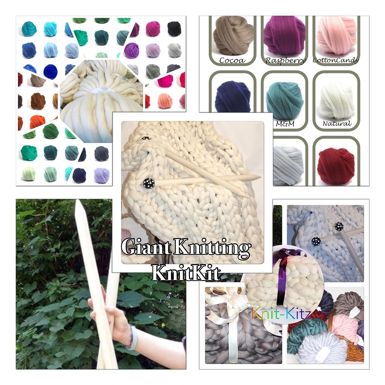 KNIT KIT, Super Chunky Merino Yarn, Needles, Patterns (Natural) All Things SMOOSH